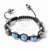 Shamballa karkötő 3 kristály + 6 csakragolyó kék jwr-1520