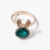 Arany bevonatos nyuszis gyűrű zöld kővel jwr-1370