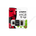 Kingston Memóriakártya, Micro SDHC, 64GB, Class 10, adapterrel, KINGSTON (MKMS64GHMK)