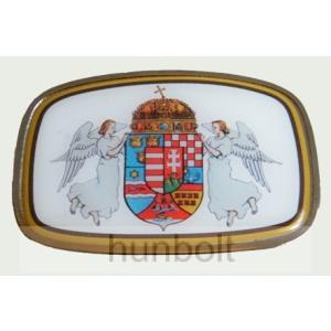 Szögletes angyalos címeres övcsat 9,5x6,5cm