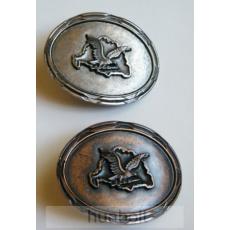 Ovális Nagy-Magyarország kicsi turulos ezüst övcsat 6,5x8 cm
