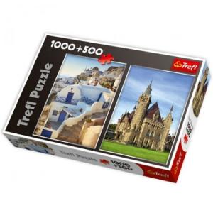 Trefl Moszna kastély + Santorini görögország 1000+500 db-os puzzle