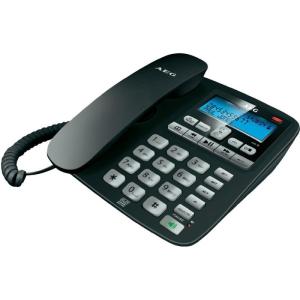 AEG Vezetékes analóg telefon világító kijelzővel, fekete, AEG VOXTEL C 115