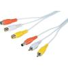 Videó kombi hosszabító kábel 20 m, 2 x RCA, 1 x DC OUT ⇔ 2 x RCA, 1 x DC IN