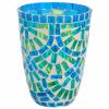 TIFFANY mécsestartó kék/zöld 12cm