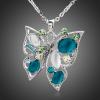 Platinával bevont pillangó nyaklánc kék és zöld színű ausztriai kristályokkal + AJÁNDÉK DÍSZDOBOZ (1217.)