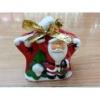 Karácsonyi kerámia mécsestartó, Mikulásfigurával, csillag
