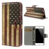 utángyártott Tok álló, bőr (FLIP, mágneses, oldalra nyíló, bankkártya tartó, asztali tartó funkció, zászlóminta) USA [Apple iPhone 6 4.7``]