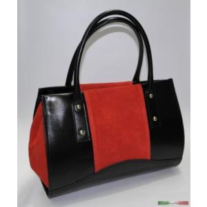 Piros-fekete olasz bőr kézitáska