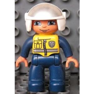 LEGO Duplo figura sárga mellény, fehér sisakban