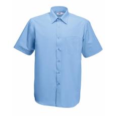 Fruit of the Loom FoL Short Sleeve Poplin Shirt, középkék