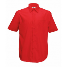 Fruit of the Loom FoL Short Sleeve Poplin Shirt, piros