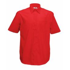 Fruit of the Loom FoL Short Sleeve Poplin Shirt, piros