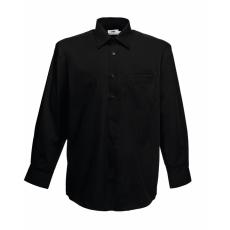 Fruit of the Loom FoL Long Sleeve Poplin Shirt, fekete