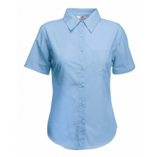 Fruit of the Loom FoL Lady-Fit Short Sleeve Poplin Shirt, középkék
