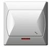 Kapcsoló (106j), alternatív, jelzőfény, komplett (Akcent) fehér villanyszerelés