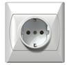 Földelt dugalj, egyes, komplett (Akcent) fehér villanyszerelés