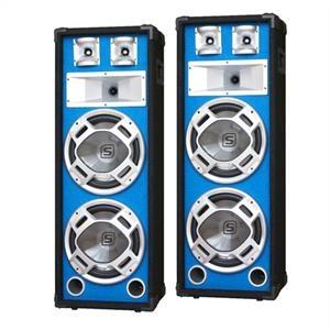 Skytec hangfalpár. 2 x 20 cm mélynyomó, kék LED effekt