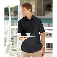 Fruit of the Loom FoL Short Sleeve Poplin Shirt, fekete