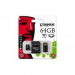 Kingston Memóriakártya, Micro SDHC, 64GB, Class 10, adapterrel, KINGSTON
