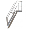 KRAUSE - Ipari lépcső dobogóval 800mm 45° bordázott alu fokkal 5 fokos