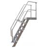 KRAUSE - Ipari lépcső dobogóval 600mm 45° bordázott alu fokkal 15 fokos