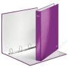 Leitz Gyűrűs könyv, 4 gyűrű, D alakú, 40 mm, A4 Maxi, karton, lakkfényű, LEITZ Wow, lila (E42420062)