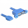 DELOCK Cable USB 3.0 pin header female > 2 x USB 3.0-A female parallel 82941