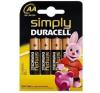 DURACELL AA DURACELL SIMPLY 1,5V Ceruza elem LR6/MN1500 4db/csomag ceruzaelem