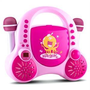 Auna Rockpocket karaoke szett gyerekeknek, CD, AUX, 2 x mikrofon, matrica szett, rózsaszín