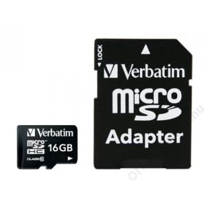 Verbatim Memóriakártya, Micro SDHC, 16GB, Class 10, adaterrel, VERBATIM (MVMS16GHA)