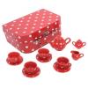 Bigjigs piros pöttyös porcelán teáskészlet