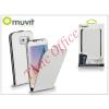 Muvit Samsung SM-G920 Galaxy S6 flipes tok képernyővédő fóliával - Muvit Slim Flip - white