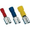 Tracon Electric Szigetelt rátolható csatlakozó hüvely, sárgaréz, piros - 6,3x0,8mm, 1,5mm2 PCSH6 - Tracon