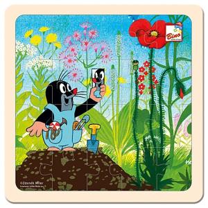 Bino Toys Kisvakond munkában fa puzzle 20 elemmel