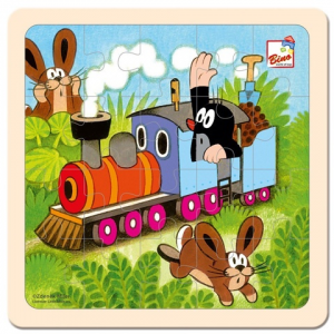 Bino Toys Kisvakond vonatozik fa puzzle 20 elemmel