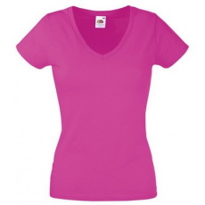 Fruit of the Loom 61-398 LADY FIT Valueweight V-nyakú női póló FUKSZIA XS-XXL méretek