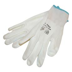 Kötött kesztyű fehér nylon, BUNTING, L-es méret, 9` poliuretánba mártott (Kesztyű)