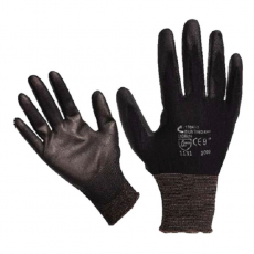 Kötött kesztyű fekete nylon, BUNTING BLACK L-es méret 9`, poliuretánba mártott  (Kesztyű)