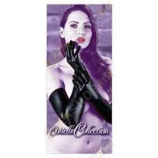 Cottelli Collection Hosszú fényes kesztyű - fekete