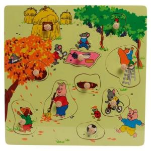Fogantyús puzzle fából, ősz