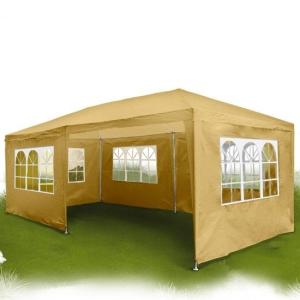Kerti pavilon, sörsátor 6 oldalfallal 6x3 m bézs-sárga