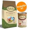 Lukullus próbacsomag: 1,5 kg száraz- & 6 x 400 g nedvestáp - Csirke & északi-tengeri lazac 1,5 kg szárazeledel + pulykaszív & liba 6 x 400 g nedvestáp