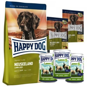 Happy Dog supreme Happy Dog Neuseeland száraz- & nedvestáp & snack tesztcsomag - 4 kg + 3 x 400 g + 6 x 10 g