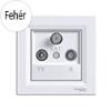 Asfora - TV-R-SAT aljzat, átmenő, 8 dB, komplett, fehér