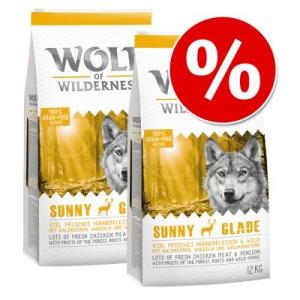 Wolf of Wilderness gazdaságos csomag 2 x 12 kg - Green Fields - bárány