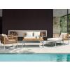 Beliani Rozsdamentes acél kerti bútor - Asztal - Kanapé - 2 x fotel - Puff - BERMUDA