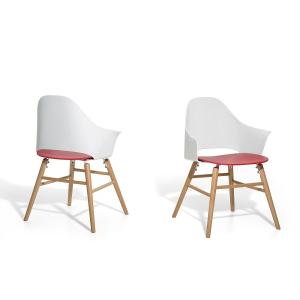 Beliani Étkezoszék - Fehér-piros szék - Kerti szék - BOSTON