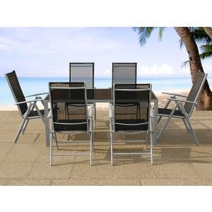 Beliani Alumínium kerti bútor szett - 90x160 cm-es asztal + 6 szék - CATANIA