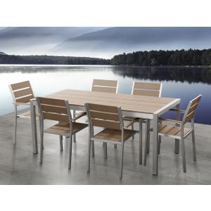 Beliani Alumínium kerti garnitúra - 180 cm-es asztal - 6 szék - Barna - Polywood - VERNIO